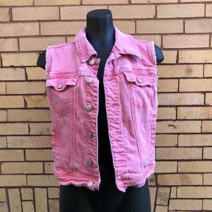 American Rag pink denim vest L